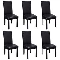 6x Faux Leather Dining Chair w Wooden Legs in Black