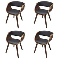 4x Faux Leather & Plywood Cup Dining Chair in Brown