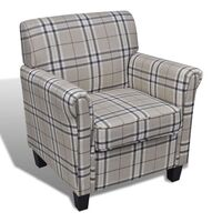 Plaid Style Polyester Fabric Sofa Armchair in Cream