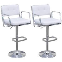 2x Swivel Gas Lift Bar Stools w/ Armrests in White