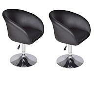 2x Luxurious Gas Lift Tub Chair in Black PU Leather