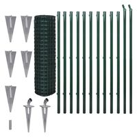 Green Euro Wire Mesh Fence w Spike Anchors 25x1.5m