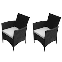 2x PE Rattan Wicker Outdoor Dining Chair in Black