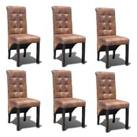 6x Suede Look Polyester Fabric Dining Chair - Brown