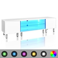LED Light TV Stand Entertainment Unit in White 1.6m