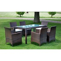 7pc PE Rattan Wicker Outdoor Dining Set in Brown