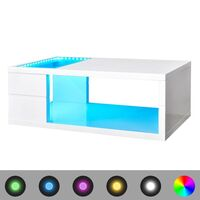 LED Light Coffee Table in High Gloss White 41.5cm
