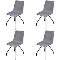 4x Fabric Dining Chair w/ Iron Legs in Light Grey