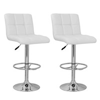 2x Grid Gas Lift PU Leather Bar Stools - White