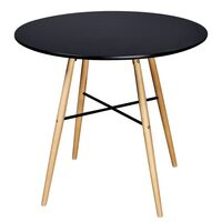 Round MDF Wood Dining Table in Matte Black 80cm