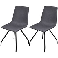2x Fabric Dining Chair w/ Iron Legs in Dark Grey