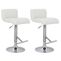 2x Low Back PU Leather Gas Lift Bar Stool in White