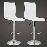 2x Curved High Back PVC Leather Bar Stool in White