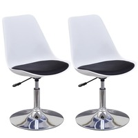 2x Swivel Dining Chair w Faux Leather Seat in Black