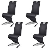 4x Faux Leather U Cantilever Dining Chairs Black