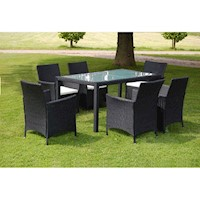 7pc PE Wicker Rattan Outdoor Dining Set in Black