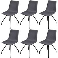 6x Cotton Fabric & Iron Dining Chairs in Dark Grey