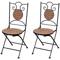 2x Outdoor Iron Dining Chair w/ Terracotta Mosaic