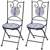 2x Outdoor Iron Dining Chair w Blue Mosaic Pattern