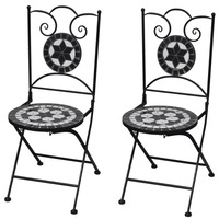 2x Outdoor Iron Dining Chair w Black Mosaic Pattern