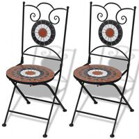 2x Outdoor Dining Chair w Terracotta & White Mosaic