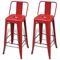 2x Replica Tolix Square Bar Stool Chairs in Red