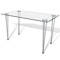 Transparent Tempered Glass Top Dining Table Steel Legs Kitchen Dining Room