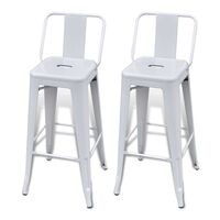 2x Replica Tolix Square Bar Stool Chairs in White