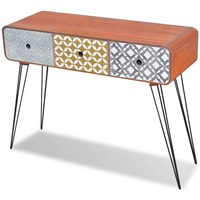 MDF Wood Console Table w/ 3 Storage Drawers - Brown