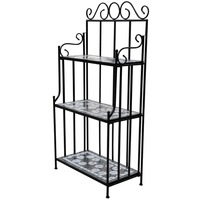 3 Tier Iron Plant Stand in Black w/ Mosaic Patterns