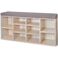 10 Pair Shoe Rack Entryway Storage Bench in Oak