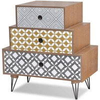 MDF Wood Bedside Table w/ 3 Pyramid Drawers - Brown