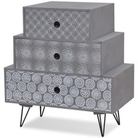 MDF Wood Bedside Table w/ 3 Pyramid Drawers in Grey