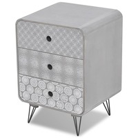 MDF Wood Bedside Table w/ 3 Storage Drawers in Grey