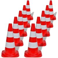 10x Reflective Traffic Cones in Red and White 50cm