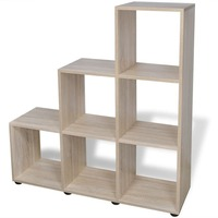 6 Cube Staircase Storage Shelf Bookcase in Natural