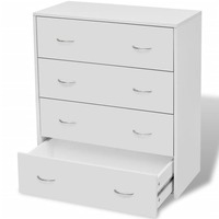 Chipboard and MDF Wood Tallboy w/ 4 Drawers White