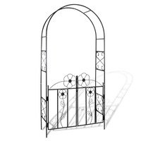 Weather Resistant Iron Garden Arch w/ Gate in Black