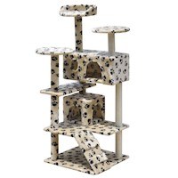 Cat Scratching Post Tree in Beige Paw Print 130cm