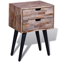Reclaimed Teak Wood Bedside Table with 2 Drawers