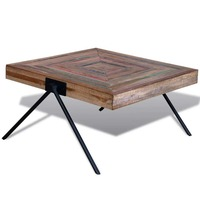 Reclaimed Teak Wood Coffee Table with V-Shaped Legs