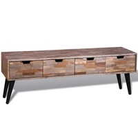 Reclaimed Teak Wood TV Unit with 4 Drawers 120cm