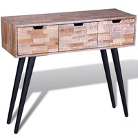 Reclaimed Teak Wood Console Hall Table w/ 3 Drawers