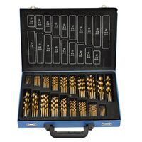 170 Piece Titanium Twist Drill Bit Set in Metal Box