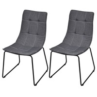 2x Fabric Dining Chairs with Iron Legs in Dark Grey