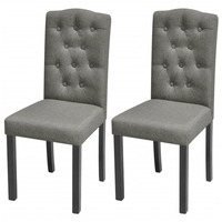 2x Wood & Fabric Upholstered Dining Chairs in Grey
