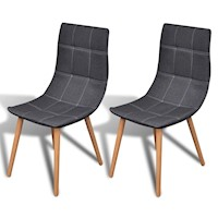 2x Fabric Dining Chairs w/ Wooden Legs in Dark Grey