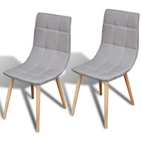 2x Fabric Dining Chairs w Wooden Legs in Light Grey