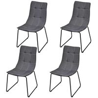 4x Fabric Dining Chairs with Iron Legs in Dark Grey