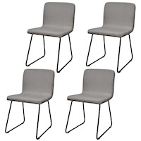 4x Fabric Upholstered Dining Chairs in Light Grey